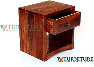 VK Furniture Sheesham Wood Bedside Table for Bedroom | Wooden Side End Table | with Drawer Storage | Teak Brown Finish