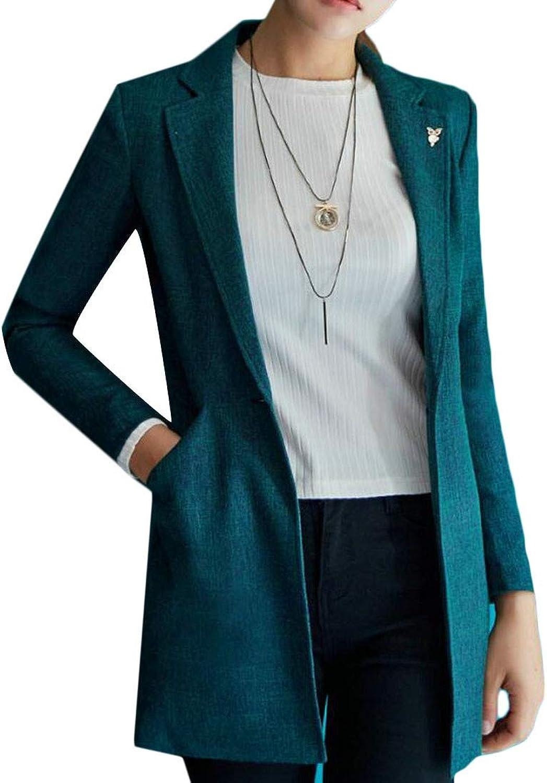 Cromoncent Women's Solid color Slim Fit Notched Lapel One Button Suit Coat Blazer Jacket