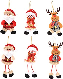 Christmas Ornament Hanging Bells Dolls Santa Claus, Snowman, Reindeer for Wedding Festival 6PCS