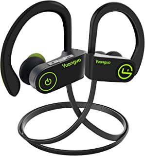 Yuanguo Bluetooth Headphones,Y2 black IPX7 Waterproof Stereo HiFi Noise Cancelling Earphones, 7-9 hours Playtime for Gym, Cycling, Sports Travelling, Build-in Microphone (Green)