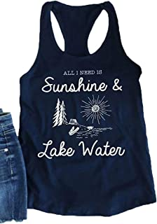 MOUSYA All I Need is Sunshine and Lake Water Tank Tops, Casual Tank for Women, Blue