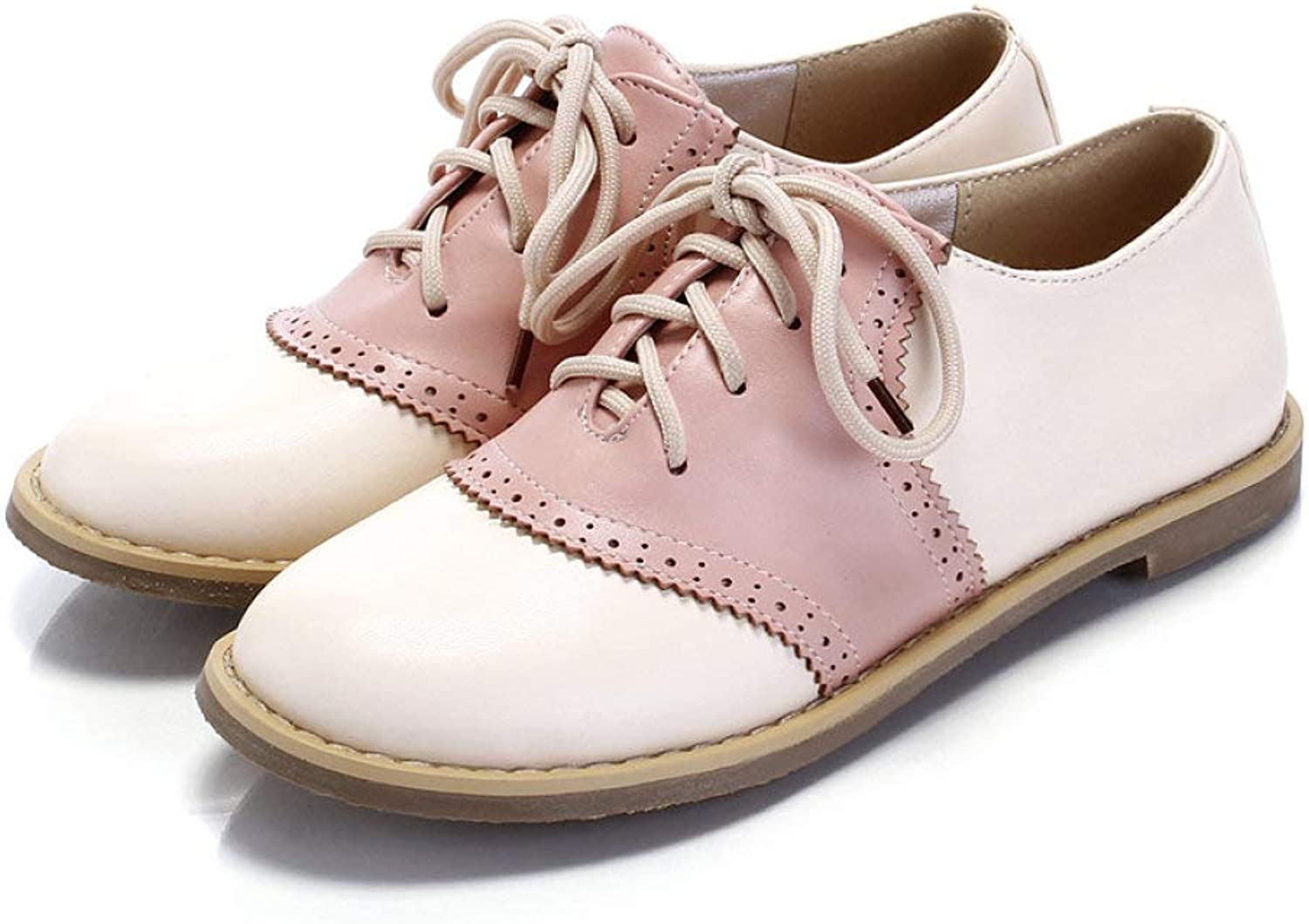 Fay Waters Women's Two Tone Saddle Oxfords Round Toe Lace Up Leather Casual Flat shoes