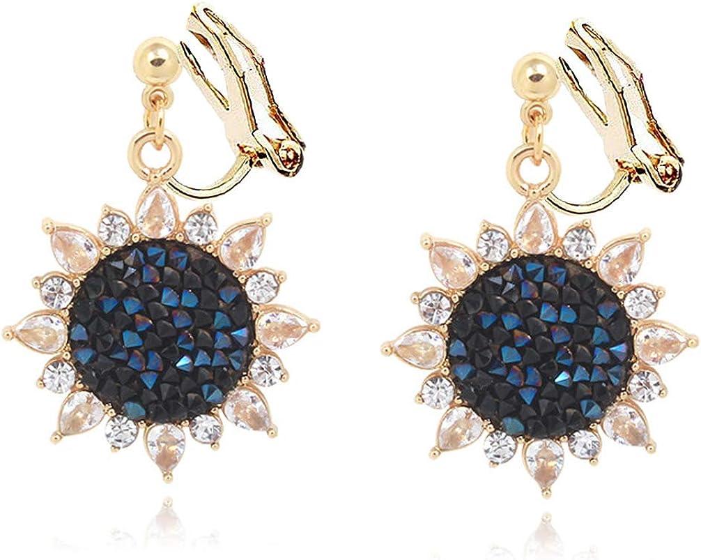 Clip on Earrings Rhinestone CZ Sun Flower Deep Blue Dangle for Women Girls no Piecred Pads Gold Plated