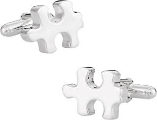 Cuff-Daddy Solid 925 Sterling Silver Autism Awareness Puzzle Piece Cufflinks with Presentation Gift Box   Jigsaw Puzzle Pi...