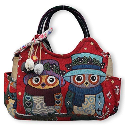 Wilai Eule Handtasche Henkeltasche ***EULE*** Shoppertasche Schultertasche Eulenmotiv Umhängetasche - verschiedene Motive erhältlich - RETRO LOOK/absolut cool und stylish (42233)