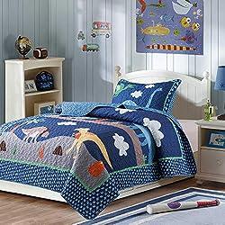 6. SLPR Dino Delight Dinosaur Pattern Lightweight Quilted Bedspread