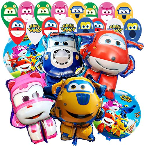 18PC Latex and FOIL Combo SUPERWING SUPERWINGS Super Wing Jet Jet AIRPLANEBALLOONS Party Supplies Decoration Theme Birthday A2