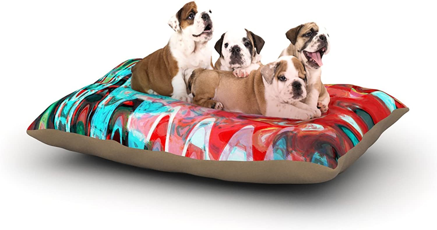 Kess InHouse Suzanne Carter Aqua Wave  Multicolor Abstract Dog Bed, 30 by 40Inch