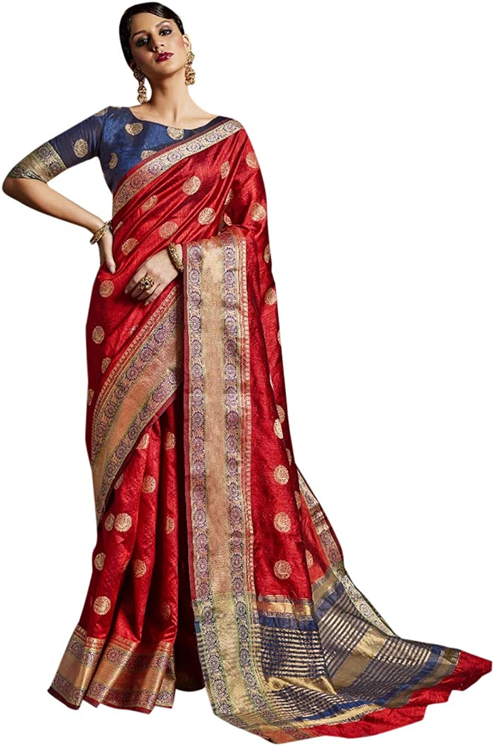 Indian Ethnic Red Border with Booty Royal Silk Saree With Blouse Rich Pure Party Wear 7345