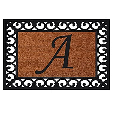 Home & More 180041925A Inserted Doormat, 19  X 25  x 0.60 , Monogrammed Letter A, Natural/Black