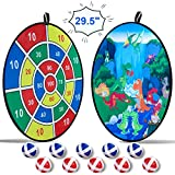O-heart Kids Dart Board Game, 29.5' Large Double-Sided Dinosaur Dart Board with 10 Balls for Kids Children Day...
