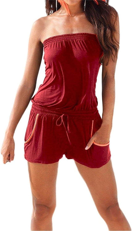 Deargirl Summer Women's Strapless Beach Short Romper Jumpsuits