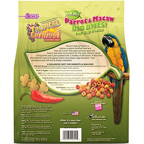 F.M. Brown's Tropical Carnival Natural Parrot, Cockatoo, and Macaw Food for Big Beaks with Fruits, Veggies, Nuts, and Grains, 4-lb Bag - Vitamin-Nutrient Fortified Daily Diet