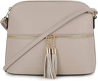 Lightweight Medium Dome Crossbody Bag with Tassel | Zipper Pocket | Adjustable Strap