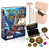 ArtCreativity Pirate Treasure Dig Kit for Kids - Gem Excavation Set with Digging Tools - Interactive Excavating Toys - Great Birthday Gift Idea, Contest Prize for Boys and Girls