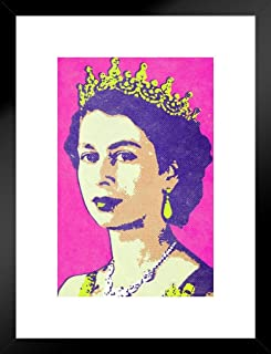 Queen Elizabeth II Portrait Pop Art Print Matted Framed Wall Art 20x26 inch