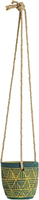 Chumbak Hand Painted Planter with Hanging Jute Rope - Cement - Red
