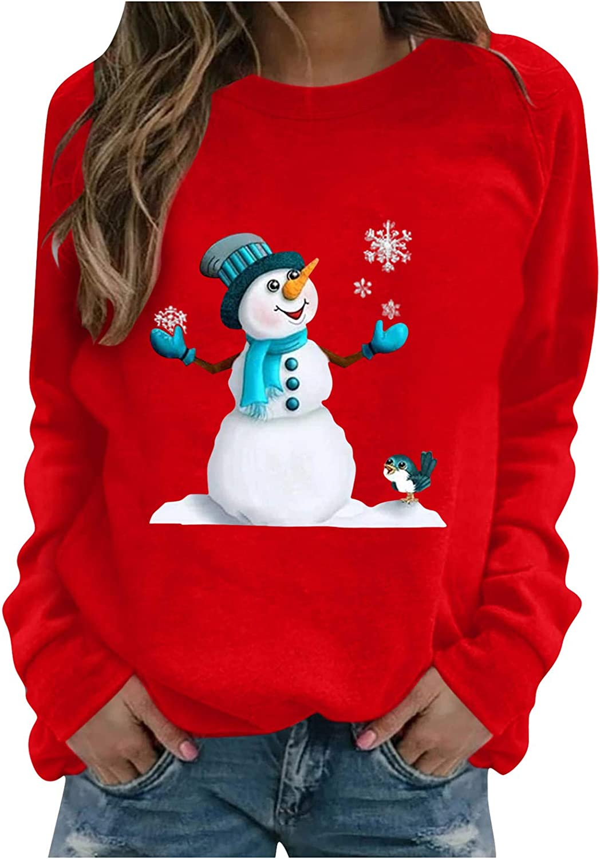 Eduavar Christmas Shirts for Women, Womens Fashion Xmas Letter Print Long Sleeve Crewneck Pullover Sweatshirt Tee Tops