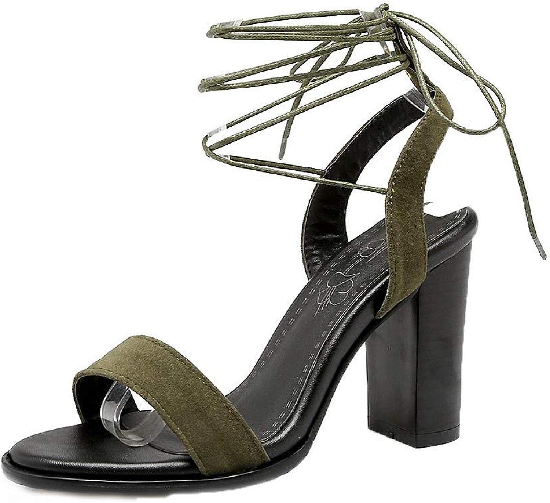 AmoonyFashion Women's Solid Blend Materials High-Heels Open-Toe Lace-up Sandals, BUTLT007637
