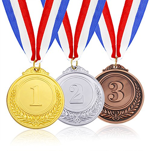 Caydo 3 Pieces Gold Silver Bronze Award Medals with Ribbon
