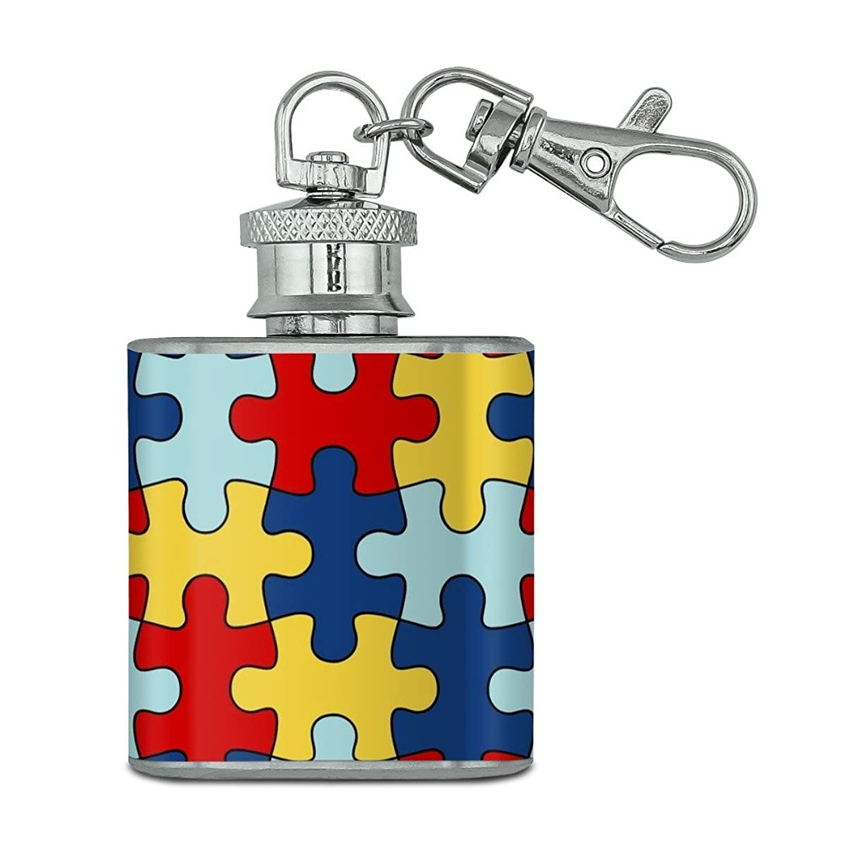 Autism Awareness Diversity Puzzle Pieces Stainless Steel 1oz Mini Flask Key Chain