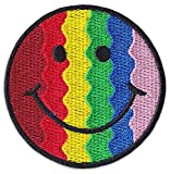 Rainbow Smiley Patch Patch LGBT Queer - Parche para coser o planchar