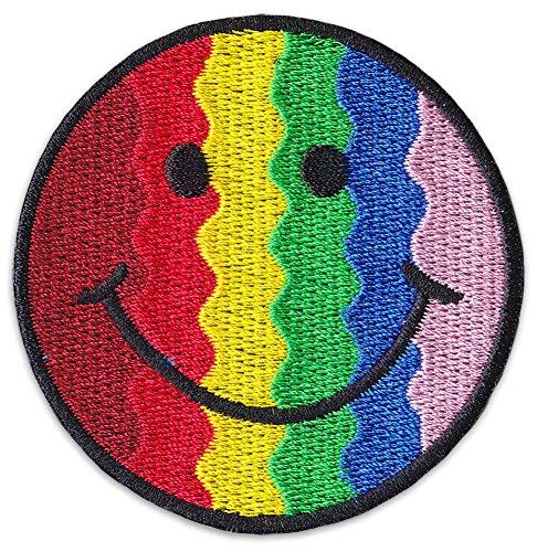 Rainbow Smiley Aufnäher Aufbügler Patch LGBT Queer Mädchen Sommer Party Festival