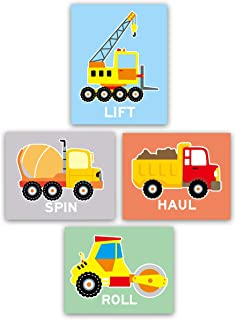 """HPNIUB Adorable Construction Vehicle Art Print Set of 4 (8""""X10"""" Transportation Collection Wall Canvas Poster for Boys Gifts Bedroom Or Classroom, No Frame"""