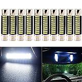 EverBright White 29MM Festoon Led For Car Visor Mirror Lights, 6641 6612F 7065 Led Festoon Bulb 12V Dome Light, 4014-9SMD, Pack of 10