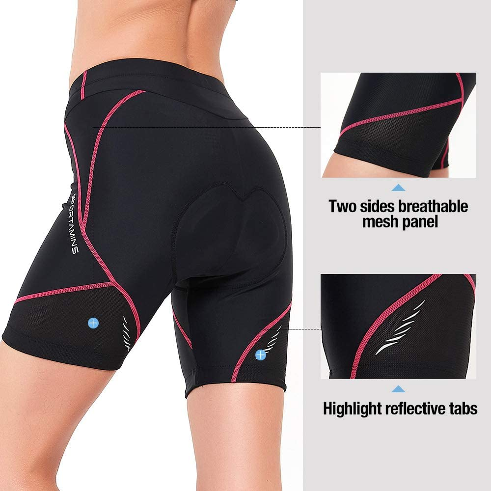 Sp3lops Womens Cycling Shorts with 3D Gel Padded Bicycle Riding Tights Biking Underwear Breathable Absorbent and UPF 50