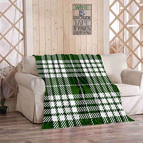 Kuidf Manta geométrica verde y blanco escocés tejido tartán rústico de franela de lujo para sofá cama o sofá de 50 x 60 pulgadas