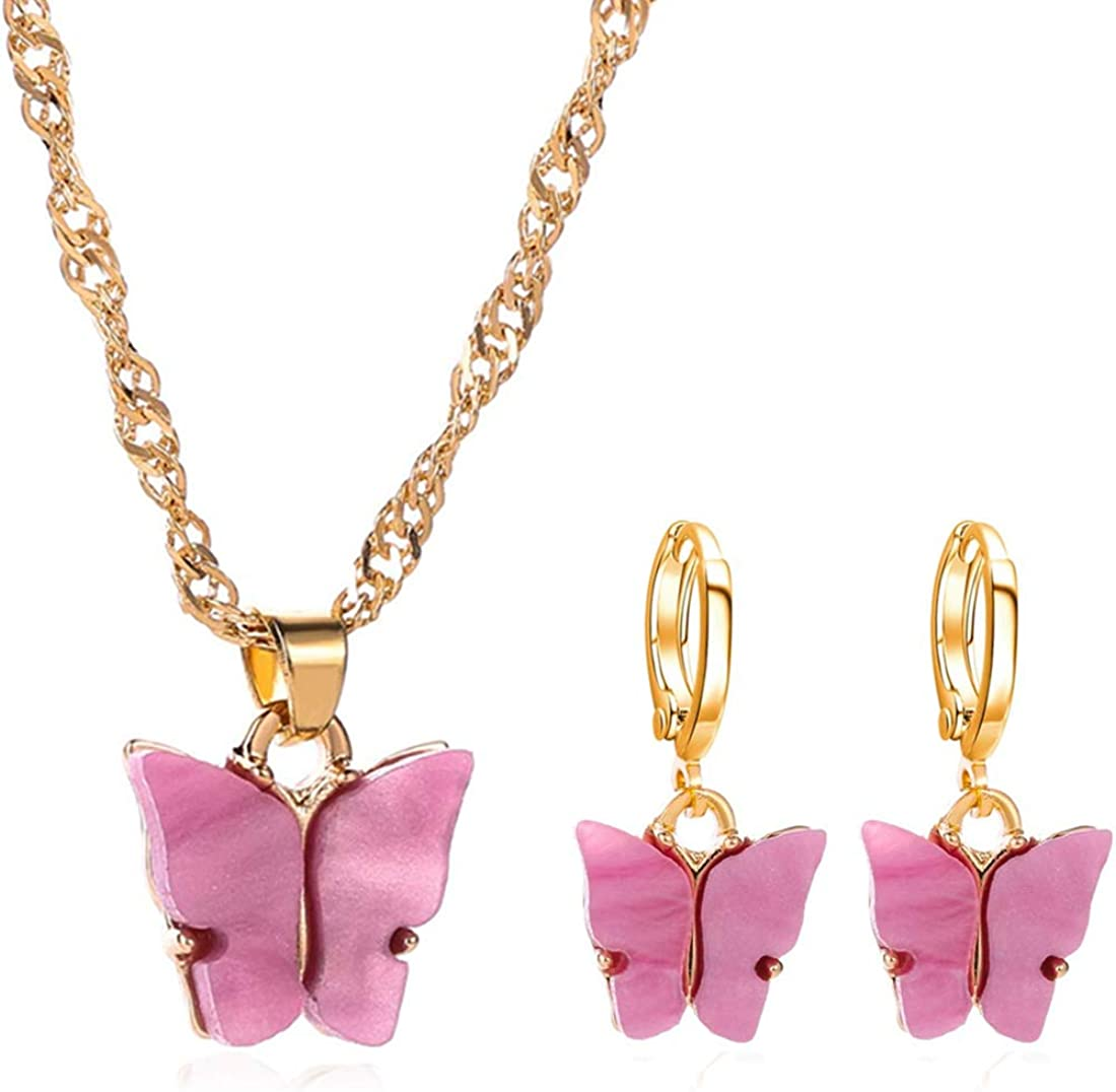 Colorful Butterfly Jewelry Set Acrylic Earrings & Necklace for Women Teens Girls, Charm Simple Fashion Jewelry, Valentine Gift Birthday Gift Party Gift