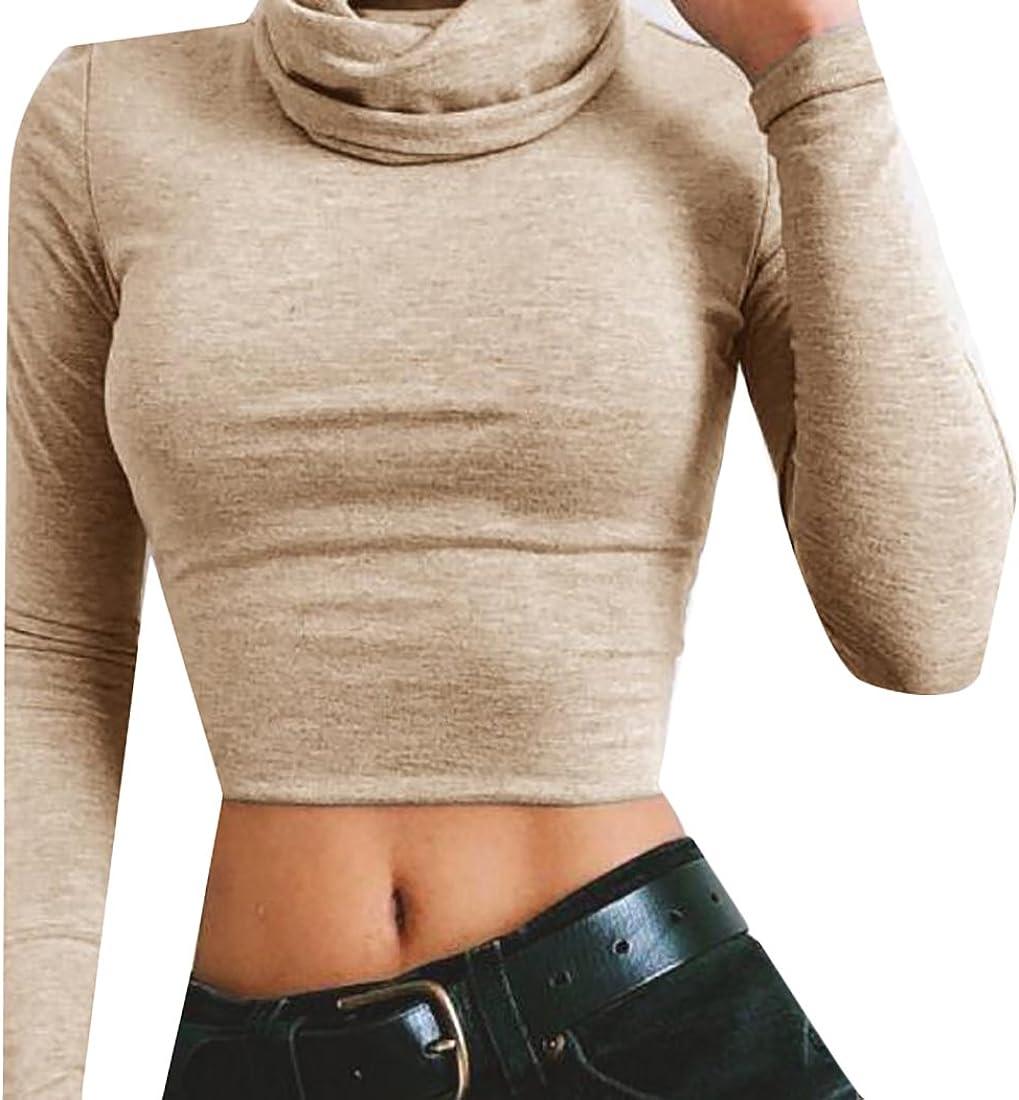 xtsrkbg Womens Long Sleeve Crop Top Turle Neck Stretch Top