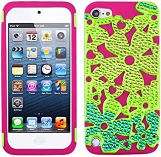Snap on Cover Fits Apple iPod Touch 5th Solid Pearl Green/Hot Pink Flowerpowe Hybrid with Diamonds (Please Carefully Check Your Device Model to Order The Correct Version.)