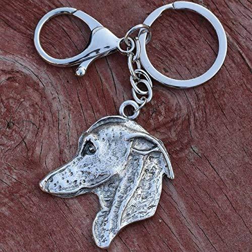 43 * 50mm Metal Greyhound Llavero Hounds Llavero Hombres Mujeres Amante de Las Mascotas Llaveros Doggy Chaveiro Cachorro Regalo Antiguo SilverA001