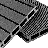 WPC decking boards Basic Line - complete set light gray | 24m² (4m x 6m) wooden board planks | Floor tiles + substructure & clips | Balcony flooring + non-slip + weatherproof