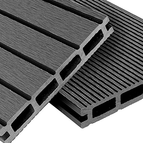 WPC Terrassendielen Basic Line - Komplett-Set Hellgrau | 12m² (4m x 3m) Holz-Brett Dielen | Boden-Fliesen + Unterkonstruktion & Clips | Balkon Boden-Belag + rutschfest + witterungsbeständig