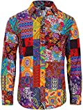 COSAVOROCK Camisa hawaiana de manga larga para hombre hippie floral