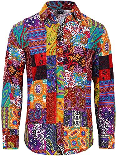 COSAVOROCK Camicia Anni 70 Hippie Uomo Camicie Fantasia Fiori Funky Brutto Casual XXL