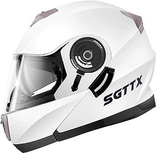 SGTTX-160 Motorradhelme Modulare Helme Integralhelme Flip-up Helme Offroad-Helme Motocross-Helme Mit ECE-Doppelvisier-Sonnenblende Für Frauen Männer Erwachsene - Weiß S
