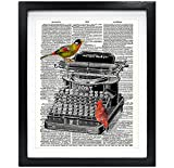 Susie Arts 8X10 Unframed Vintage Typewriter with Birds Upcycled Vintage Dictionary Art Print Book Art Print Home Decor Office Wall Art V084