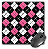 preppy argyle hot pink and black mousepad