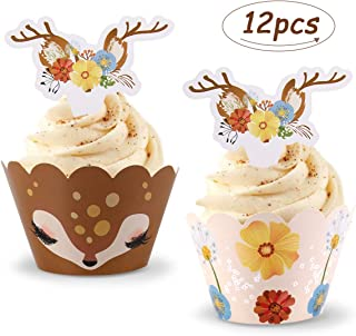 Patimate Cupcake Wrappers and Cupcake Toppers, Reindeer Cupcake Wrappers and Toppers for Christmas Day, Santa Party, Farm Party, Birthday Party, Double Faced Cupcake Wrappers, 12PCS