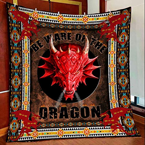 Dragon Beware Quilt Blanket Outdoor Picnic Beach Blanket Twin Throw Queen King Size Bed Quilts Best Decorative for Bed, Couch, Sofa, Chair, Swing, Daybed, Home Decor