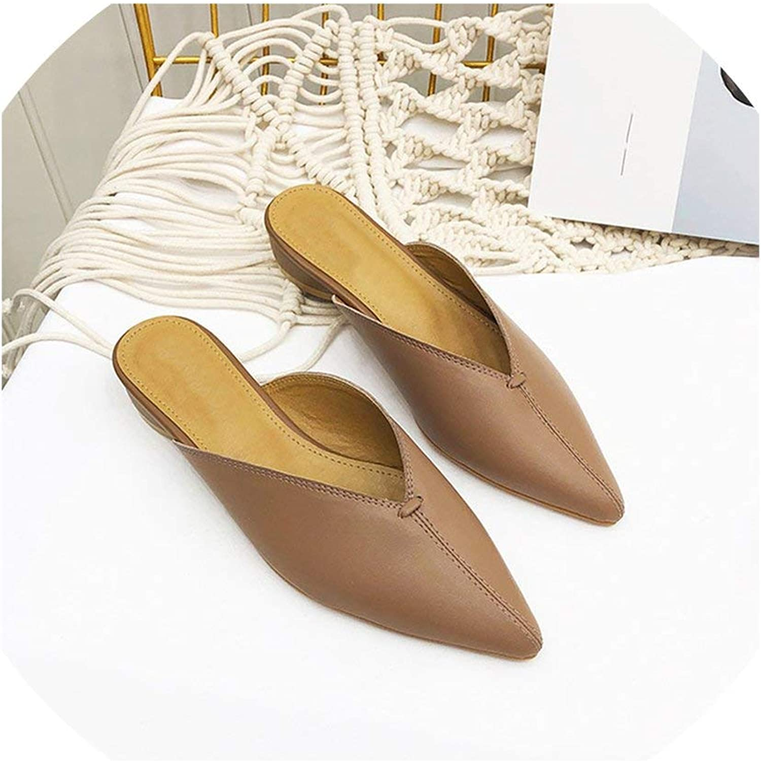HuaHua-Store Sewing Mules Women Low Heel Slippers Casual Pointed Toe Slides Slip On Loafers Leather shoes