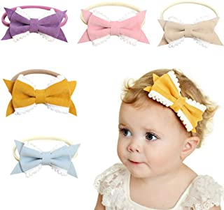 Baby Girl Headbands and Bow, Elastic Infant Hairband Hair Bow Accessories for Newborn Toddler