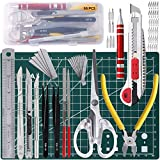 68Pcs Gundam Model Tools Kit,Hobby Tool Set,Suitable for Model Making, DIY Art and Crafts,Etc.Including-Art Knive,Cutting Mats,Screwdrivers,Tweezers,Scissors,Diagonal Pliers,Files,Steel Rulers