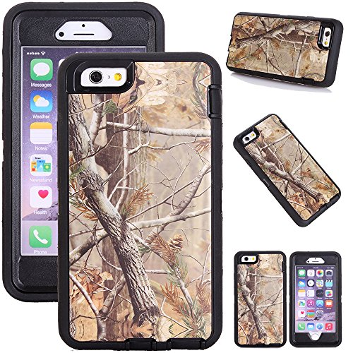 Kecko iphone 6s Plus Camo Case, Defender Tough Rubber Shockproof Impact Weather Resistant Hybrid Camouflage Military Duty Case for iphone 6s Plus W/ Built-in Screen Protector - Leaves On The Core