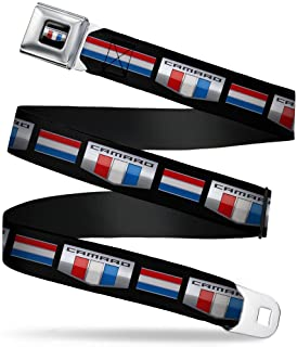 "Buckle-Down Seatbelt Belt - CAMARO Six Badge/Stripe Black/Silver/Red/White/Blue - 1.5"" Wide - 32-52 Inches in Length"