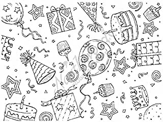 Rubber Stamp Balloons Hats Presents Party Background Block Northwoods R2532 .supply.from:wareskscrapbooks